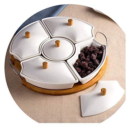 JYDQM Contenitore for servire caramelle e frutta a guscio, vassoio antipasti con coperchio, organizzatore pranzo a 5 scomparti for alimenti, piatto da campeggio diviso, piatto da portata con coperchio
