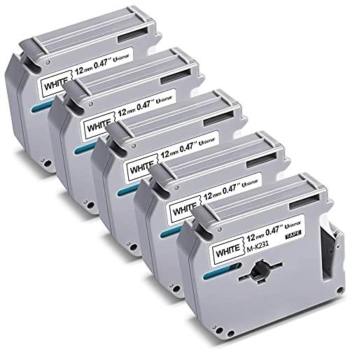 INISSAR 12MM 라벨 테이프 BROTHER M 시리즈 테이프 M-K231 MK231 M-K231S PT-70BM PT-M95 PT-90 PT-70 PT-65 PT-70SR PT-85 라벨 메이커 1 | 2 X 26.2 ` 블랙 화이트 5 팩