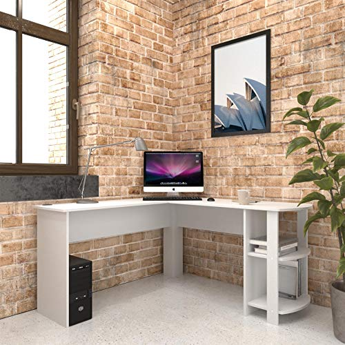 Large White Corner Desk with shelves for Home Office - Piranha Furniture Pacu