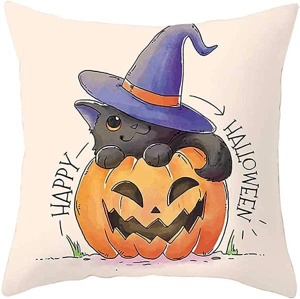 ZFK Home Pillow Covers 18 X 18 Happy Halloween Pillow Case Yellow Pumpkin Cat Ghost Alphabet Fall Autumn Cushion Cover Geometric Linen Pillowcase Decorative Throw Pillows Home Decor