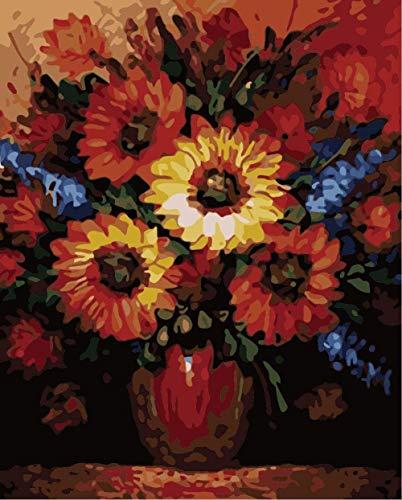 GEZHF - Kit de pintura al óleo de bricolaje, pintura de girasol por número para niños y adultos, alto nivel principiante, marco regalo, dibujo de pinceles de 16 x 20 pulgadas (sin marco)