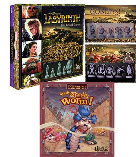 Jim Henson's Labyrinth The Board Game Bundle: Core Game with Goblins! and Fireys! Expansions Plus Ready, Steady, Worm!