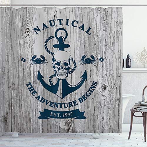 ABAKUHAUS Anker Duschvorhang, Anker Schädel Meer Seil, Moderner Digitaldruck mit 12 Haken auf Stoff Wasser & Bakterie Resistent, 175 x 200 cm, Beige Navy Blue
