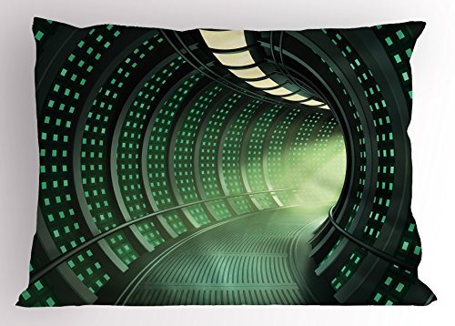 "Lunarable Outer Space Pillow Sham, Hallway of The Spaceship with Futuristic Elements and Round Ceiling Design, Decorative Standard King Size Printed Pillowcase, 36"" X 20"", Grey Green"