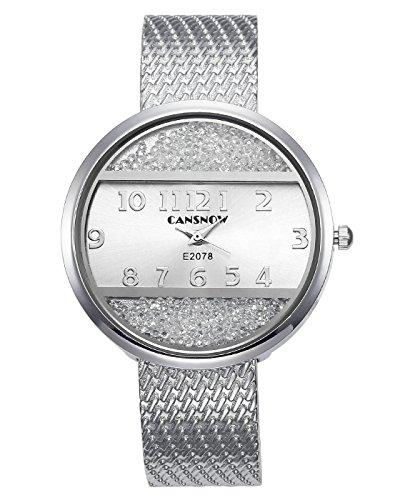 JSDDE Uhren Chic Damenuhr Armbanduhr Manschette Strass Spangenuhr Metall Band Armreif Uhren Analoge Quarzuhr Kleideruhr für Frauen Damen (Silber-Silber Dial)