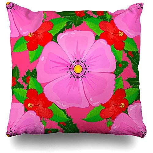 Jonycm Kussensloop Barok Sjaal Cosmos Bloemen Op Roze Bud Abstract Natuur Aquarel Bloesem Ontwerp Oude Vierkante Home Decor Decoratieve Kussensloop Kussensloop Kussen Cover 45X45cm