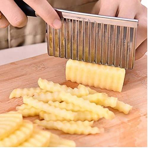 Zonster Kartoffel gewellte umrandete Messer-Edelstahl-Küche Gadget, Gemüse, Obst Schneidewerkzeug Küchenzubehör Französisch Frites Maschine