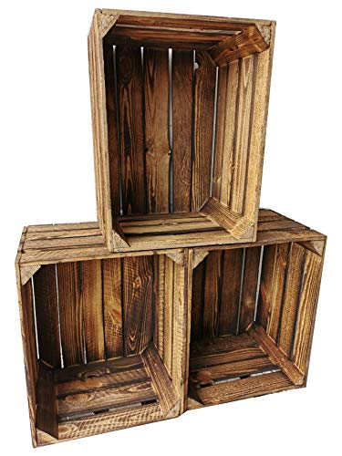 Alte geflammte Obstkisten/Holzkisten in vielen Variationen -Ideal zum Möbelbau oder zur Aufbewahrung- Sehr massiv und stabil verarbeitet (3er Set/ohne Boden)