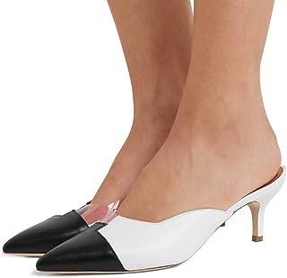 ad3c60dfc95aa FSJ Women Mid Kitten Heel Mule Pumps Pointed Toe PVC Slide Sandals Office  Dress Shoes Size