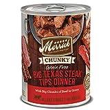 Merrick Chunky Grain Free Wet Dog Food Big Texas Steak Tips Dinner -  (12) 12.7 oz Cans