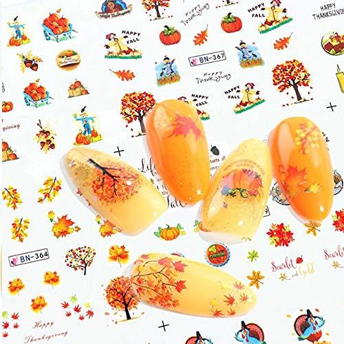 JIAQI Blattgold Aufkleber Set Folien Dekor Designs für Nägel Herbst Nail Art Wasser 1 Blatt