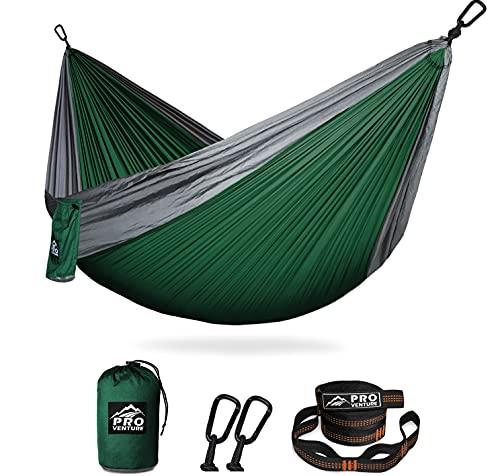 Pro Venture Single Camping Hammock - 9'2' x 4'6' (with 7ft Tree Straps, 2 Carabiners) - 1 Person, Portable, Lightweight Parachute Nylon 210T Hammocks...