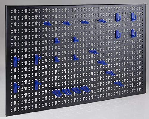 Lochplatten Werkzeugwand Metall mit 24 Gerätehaken