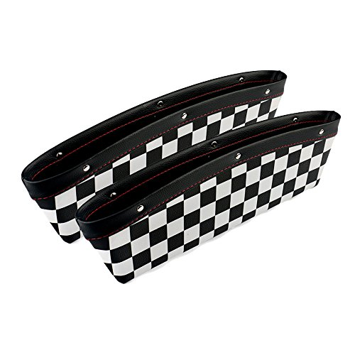 2pcs Black Checkered Checkerboard Pattern Car Seat Storage Box for Mini Cooper S Clubman Countryman R55 R56 R57 R60 R61 F55 F56