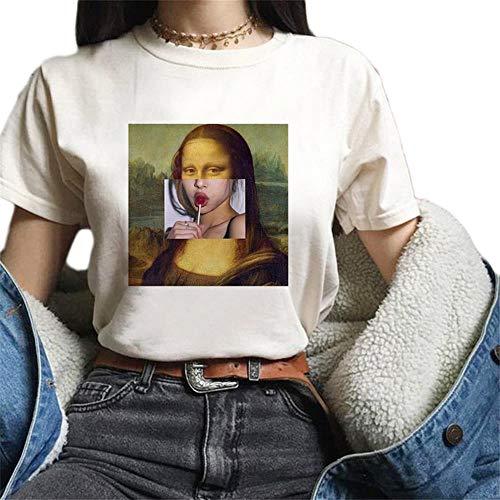Tasty Life Neue Mona Lisa Karikatur-Spaß-Art- Und Weisedruck-T-Shirt Parodie-Ölgemälde-runder Ansatz-Frauenhemd-Sommer-beiläufige Kurze Hülse(L)
