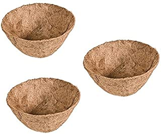 Rocky Mountain Goods Hanging basket Liner Replacement - Extra thick coco lasts longer and requires less watering - 100% natural coconut planter basket liner for flowers / vegetables (3 Pack, 14