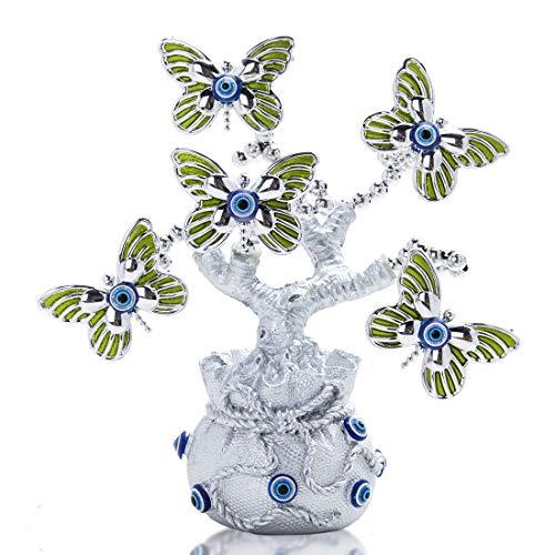 HDCRYSTALGIFTS - Estatua de árbol con protección de mariposa verde y buena fortuna (bolsa de la suerte)