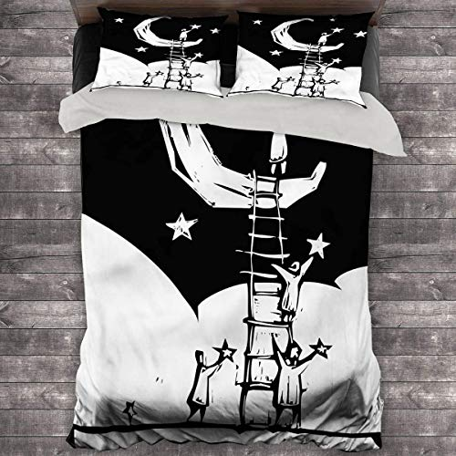 Fantasy Three-Piece Bed People on a Ladder. 104'x89' inch King Duvet Set
