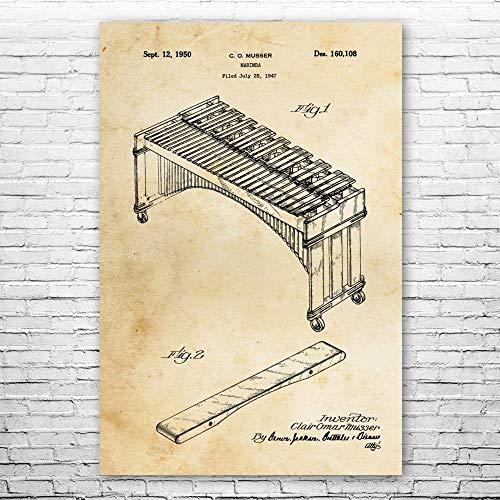 Patent Earth Marimba Keyboard Poster Print, Musician Gift, Marimba Decor, Music Class Art, Music Teacher Gift, Marimba Wall Art