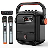 JYX Karaoke Machine with Two Wireless Microphones, Portable Bluetooth Speaker with Shoulder Strap, HD Sound PA System Support TWS, Radio, AUX In, REC, Bass&Treble for Outdoor Party/Meeting