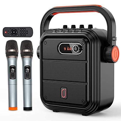 JYX - máquina de karaoke, con dos micrófonos inalámbricos, altavoz Bluetooth portátil con correa bandolera, compatibilidad con TWS, radio, entrada AUX, REC, graves y agudos, para fiestas y reuniones