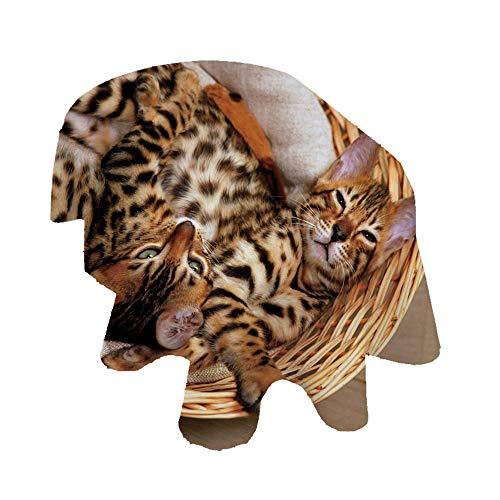 Mantel ovalado con diseño de gatitos de Bengala Gatitos en cesta, de...
