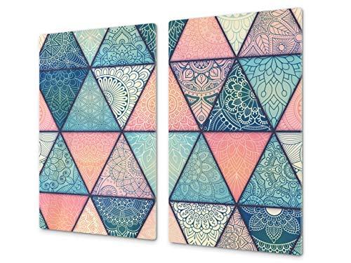 Planche à découper en verre trempé – Couvre-cuisinière et protège-plain de travail en verre résistant – UNE PIÈCE (60x52 cm) ou DEUX PIÈCES (30x52 cm chacune); D14 Patrons et Mandalas: Marocain 2