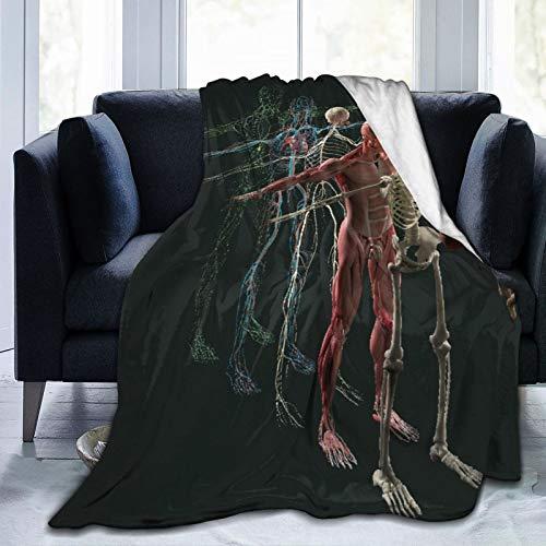 Manta de Tiro Personalizada,Anatomía Humana Vista Explosionada Deconstruidos Músculo Separado Órganos Óseos,Manta de Felpa Suave para sofá,Dormitorio,Viaje,Manta mullida 50'X60'