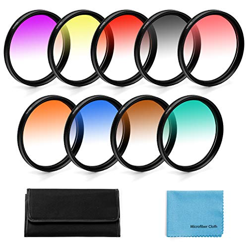 52mm Graduated Color Filters Kit 9 Pieces Gradual Colour Lens Filter Kit Set Accessory for Canon Nikon Sony Pentax Olympus Fuji DSLR Camera + Lens Filter Pouch +Lens Cleaning Cloth