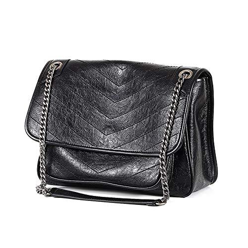 LEIAZ Neues Trendquadrat-Paket Wilde Kurierkettentasche Mode-Roman-Tofu-Tasche Retro Kleine Quadratische Tasche,Black