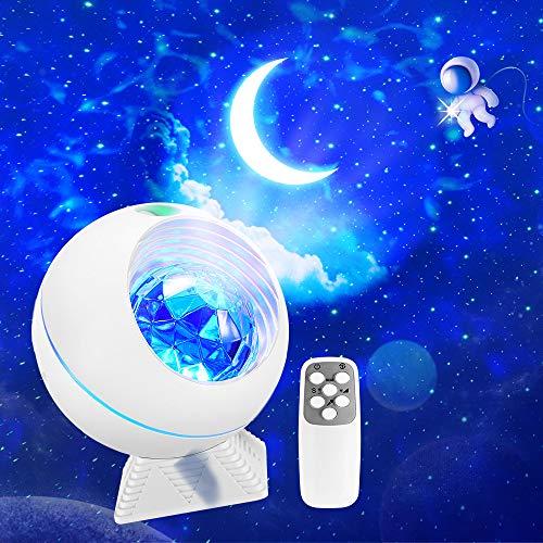 Proyector Estrellas Lampara Infantil con Luna Nubes,Control Remoto y Bluetooth USB LED Colores Techo Luz,Regalos Bebes Niños Hogar Decoración Habitación Galaxia Aurora Boreal Luces Adultos Blanco