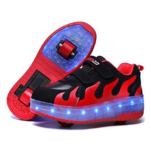 MEFKY Ruedas Luz LED Zapatos Dos Ruedas Zapatos Patinaje sobre Ruedas Zapatillas Deporte Zapatos Patinaje sobre Ruedas con Carga USB para Niños Principiantes Regalo,Black Red,39