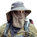 Cooltto Cappelli alla Pescatora da Uomo Tesa Larga Cappello da Sole da Uomo con Patta per Il Collo e Asciugamano Viso Rimovibile Traspirante e Impermeabile con Protezione UV UPF 50+-Grigio