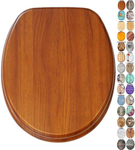 Abattant WC - Grande sélection de abattants wc en bois - Finition de haute qualité (Acajou)