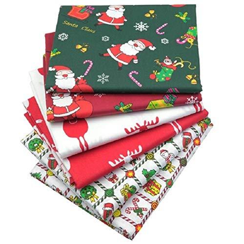 SWECOMZE - 6/8 piezas de tela de algodón de Navidad para costura, tela de patchwork de algodón, paquete para decoración de Navidad, acolchado, manualidades, scrapbooking (6 unidades A,25 x 25 cm)