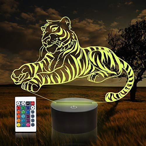 CooPark 3d Tiger Lampe ,Tier 3D Illusion lampen Nachtlicht mit Fernbedienung, 16 Farben Touch Switch Schreibtischlampen Weihnachten Geburtstag Spielzeug Geschenke für Baby Kindergarten Kleinkind
