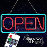 """Sign Potion Led Open Sign Business Bluetooth Remote Controls Brightness Speed Led Lights Up & Down Super Bright Flashing Steady Modes - 21"""" X 10"""" Signs for Storefront, Bars, Shop, Office (Red/blue)"""