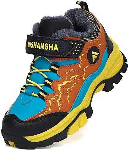 Mishansha Botas de Montaña Niño Antideslizante Zapatillas de Senderismo Niña Cálido Zapatillas Trekking Forrado Botas de Nieve Amarillo Gr.30