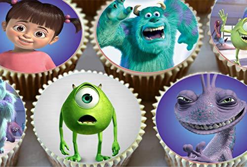 Monsters Inc Cupcake-Dekoration, vorgeschnitten, rund, essbar, 15 Stück