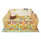 YYHSND Juego de Madera Maciza for niños Valla de Seguridad for bebés Vallado for niños pequeños Valla de rastreo for bebés Valla Plegable Plegable con Seguro 90x71cm Protección Infantil