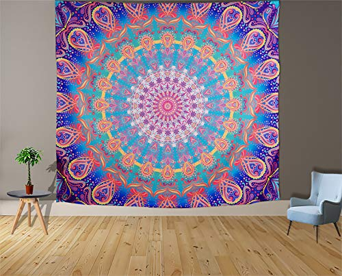 Aesthetic Mandala Tapestry Wall Hanging Indian Bohemian Boho Colorful Wall Tapestry for Bedroom Living Room Wall Decor Decoration Backdrop Dorm Pink Mystic