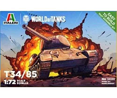 Italeri 34102 World of Tanks T-34/85 scala 1:72, carro armato, model kit, modellismo, facile assemblaggio, no colla