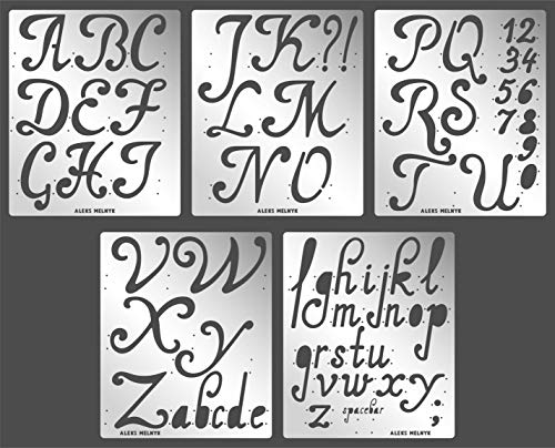 Aleks Melnyk #56 Metal Journal Stencils/Alphabet Letter Number, ABC - 2 inch/Stainless Steel Stencils Kit 5 PCS/Templates Tool for Wood Burning, Pyrography and Engraving/Scrapbooking/Crafting/DIY