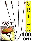 4 MEGA 1 m 100 cm Grillspieße Grill Grillspieß Wurstspiesse Kugelgrill Feuerschale (Achtung kein Teleskop, sondern feste (stabile) Form aus gedrehtem Stahl) ideal für Camping, Freizeit,...
