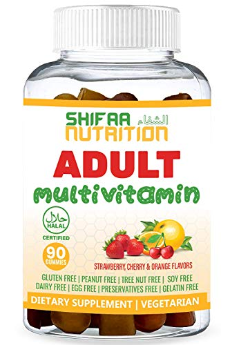 SHIFAA NUTRITION Halal & Vegetarian Gummy Multivitamin For Women, Men, Adults | 11 Vitamins, Minerals, Antioxidants | Natural, Free of: Gelatin, Gluten, Dairy, Nuts & Soy | Halal Vitamins | 90 Gummies