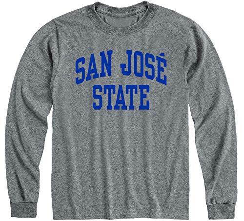 Ivysport San Jose State University SJSU Spartans Long Sleeve Adult Unisex T-Shirt, Classic, Charcoal Grey, Large