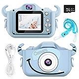 Appareil Photo Enfants, HONEYWHALE Enfant Mini NuméRique CaméRa Caméra vidéo à écran IPS de 2,0 Pouces,Cadeaux d'anniversaire pour Filles GarçOns 3-12 Ans, 32G TF Carte (Bleu)