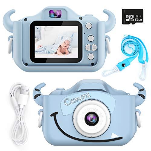 Honeywhale - Cámara digital para niños y niñas, pantalla de 2,0 pulgadas, cámara de vídeo para niños pequeños, cámaras de selfies para regalo de cumpleaños, tarjeta de memoria de 32 GB (azul)