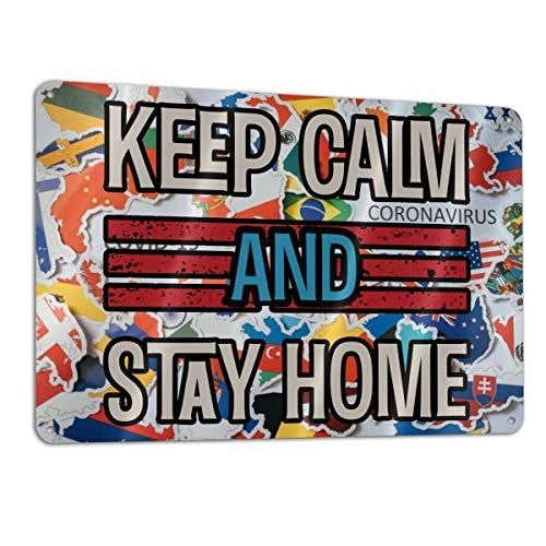 SD3DPrint - Señal metálica de aluminio con texto en inglés 'Keep Calm And Stay At Home Stop Coronavirus Covid-19'