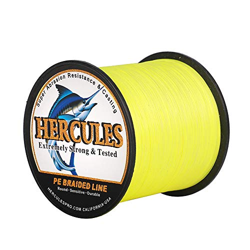 HERCULES Super Cast 1000M 1094 Yards Braided Fishing Line 100 LB Test for Saltwater Freshwater PE Braid Fish Lines Superline 8 Strands - Flourescent Yellow, 100LB (45.4KG), 0.55MM
